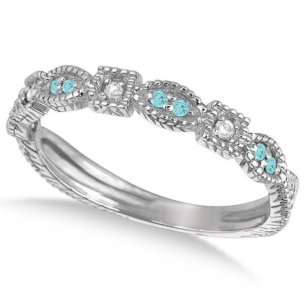 Vintage Stackable Diamond & Aquamarine Ring 14k White Gold (0.15ct)