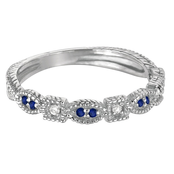 Vintage Stackable Diamond & Blue Sapphire Ring 14k White Gold (0.15ct)