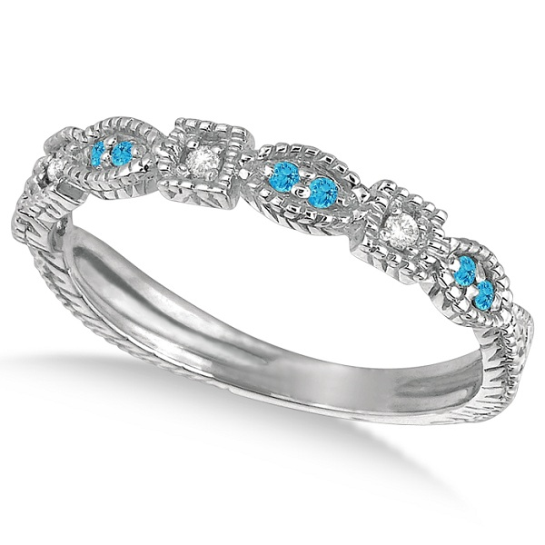 Vintage Stackable Diamond & Blue Topaz Ring 14k White Gold (0.15ct)