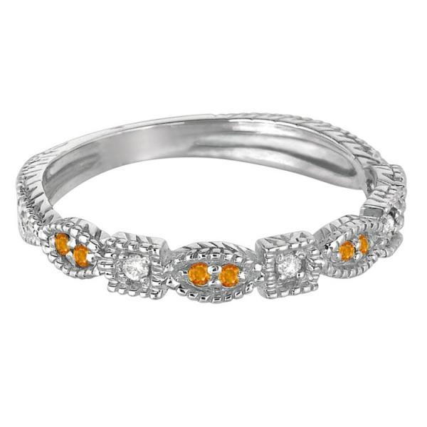 Vintage Stackable Diamond & Citrine Ring 14k White Gold (0.15ct)