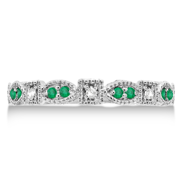 Vintage Stackable Diamond & Emerald Ring 14k White Gold (0.15ct)