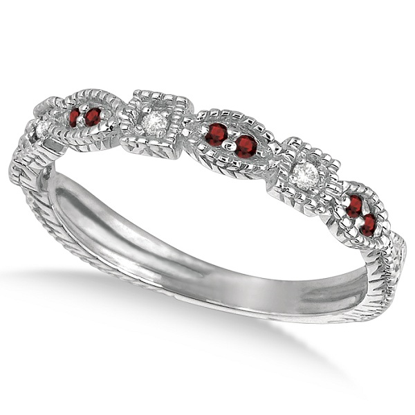 Vintage Stackable Diamond & Garnet Ring 14k White Gold (0.15ct)