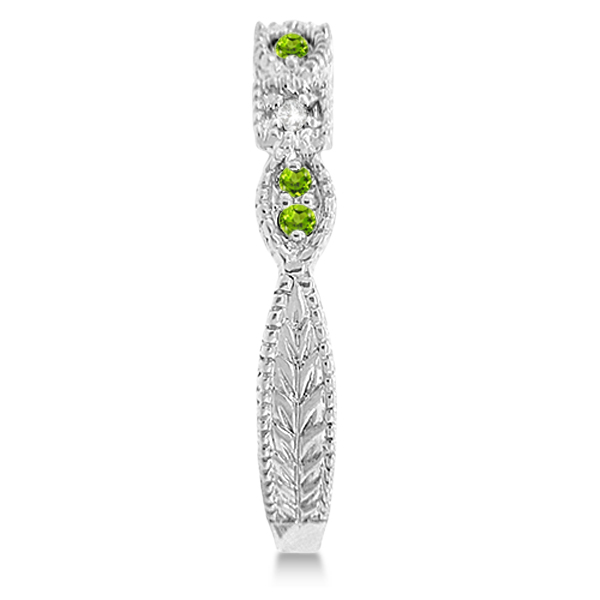 vintage stackable diamond amp peridot ring 14k white gold 015ct