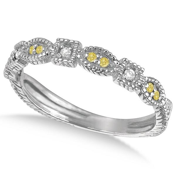 Yellow Canary & White Diamond Vintage Ring 14k White Gold (0.15ct)