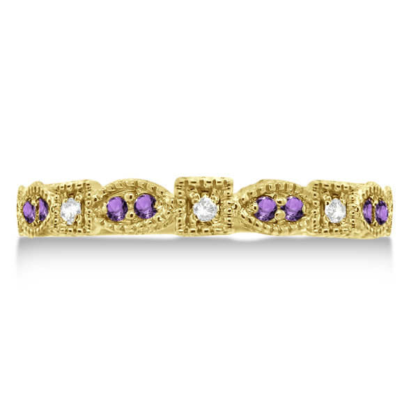 Vintage Stackable Diamond & Amethyst Ring 14k Yellow Gold (0.15ct)