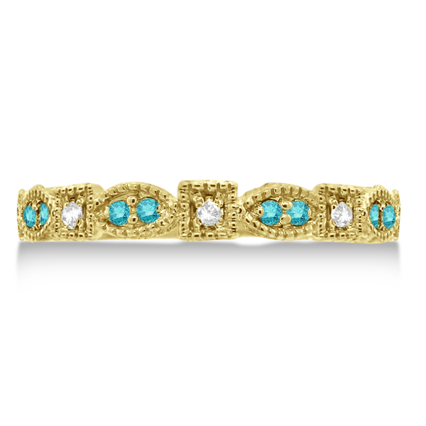 Fancy Blue & White Diamond Vintage Stack Ring 14k Yellow Gold (0.15ct)