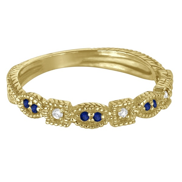 Vintage Stackable Diamond & Blue Sapphire Ring 14k Yellow Gold (0.15ct)