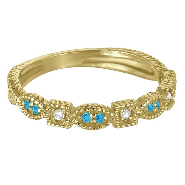 Vintage Stackable Diamond & Blue Topaz Ring 14k Yellow Gold (0.15ct)