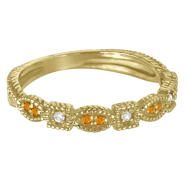Vintage Stackable Diamond & Citrine Ring 14k Yellow Gold (0.15ct)