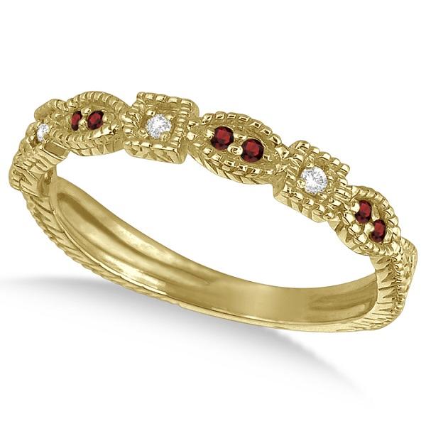 Vintage Stackable Diamond & Garnet Ring 14k Yellow Gold (0.15ct)