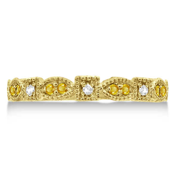 Vintage Diamond & Yellow Sapphire Ring 14k Yellow Gold (0.15ct)
