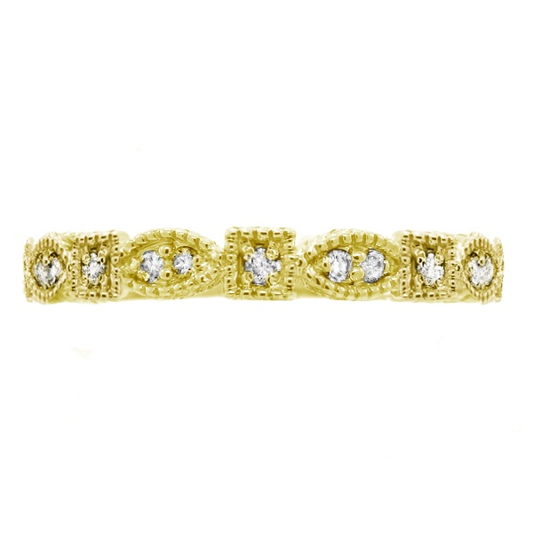 Diamond Stackable Vintage Style Ring in 14k Yellow Gold (0.15ct)