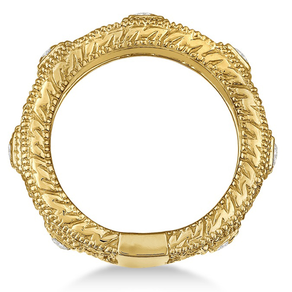 Vintage Wide Band Byzantine Diamond Ring 14k Yellow Gold (1.15ct)