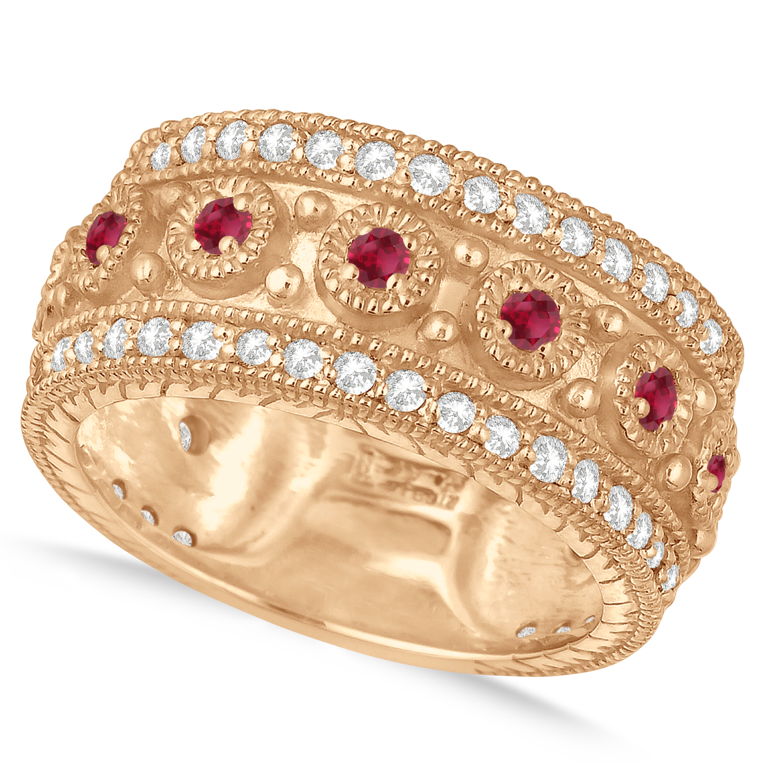 Ruby Byzantine Vintage Anniversary Band 14k Rose Gold (1.15ct)