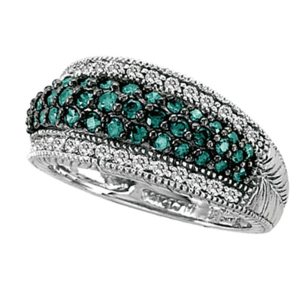 White & Blue Diamond Right-Hand Ring 14k White Gold (1.00ct)