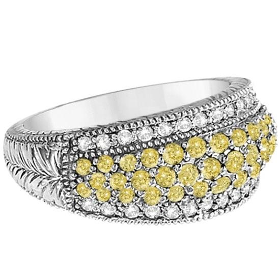 White & Yellow Canary Diamond Right-Hand Ring 14k White Gold (1.01ct)