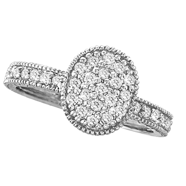 Diamond Oval Shaped Cocktail Ring 14k White Gold (0.50 ctw)