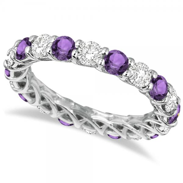 Luxury Diamond & Amethyst Eternity Ring Band 14k White Gold (4.20ct)