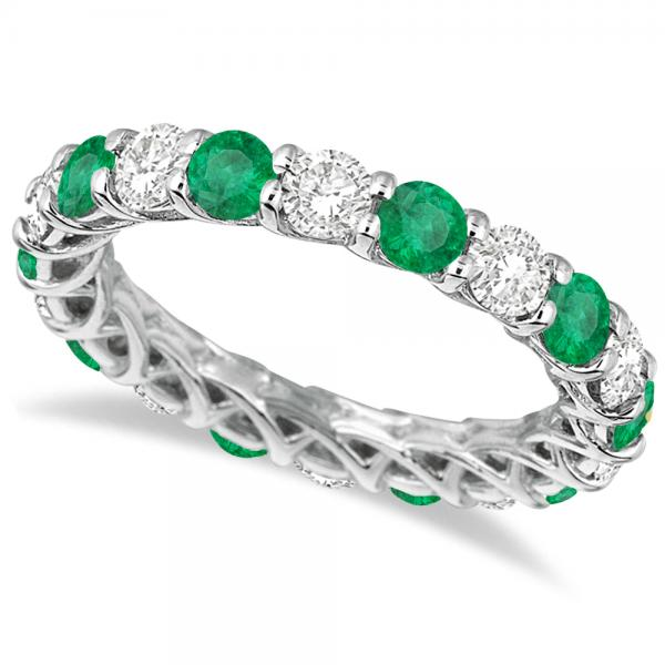 Luxury Diamond & Emerald Eternity Ring Band 14k White Gold (4.20ct)