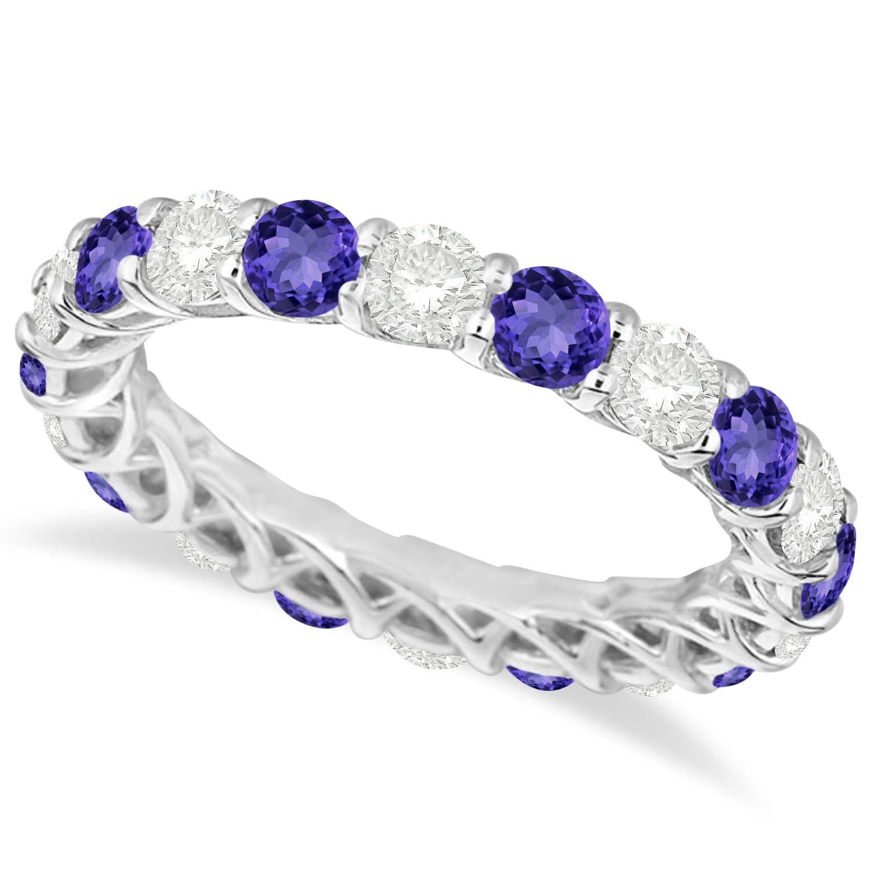 luxury tanzanite eternity ring band 14k white