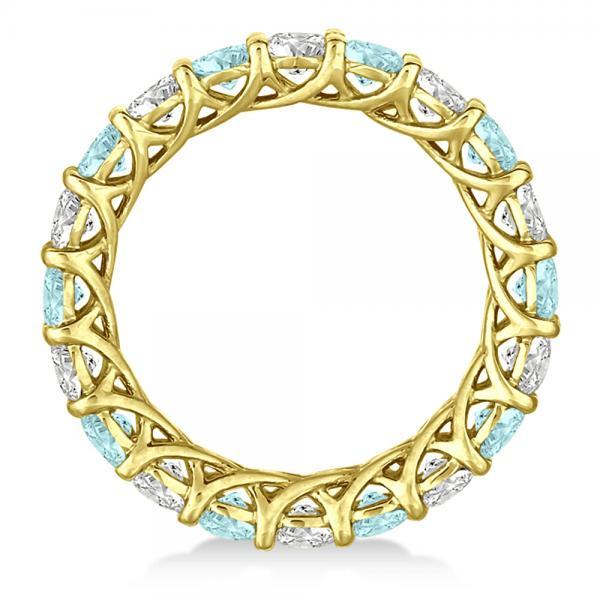 Luxury Diamond & Aquamarine Eternity Ring Band 14k Yellow Gold 4.20ct