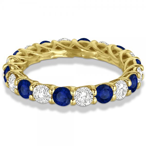Luxury Diamond & Blue Sapphire Eternity Ring Band 14k Yellow Gold 4.20ct