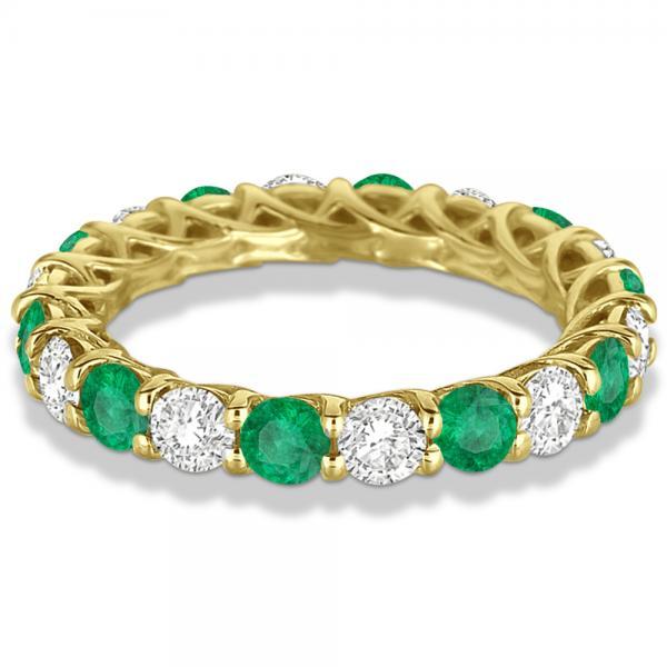 Luxury Diamond & Emerald Eternity Ring Band 14k Yellow Gold (4.20ct)