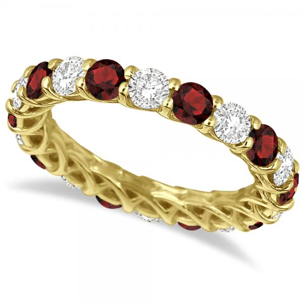 Luxury Diamond & Garnet Eternity Ring Band 14k Yellow Gold (4.20ct)