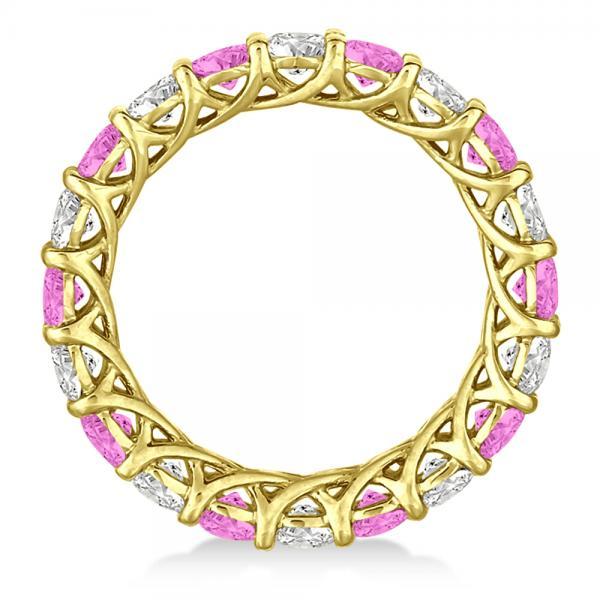 Luxury Diamond & Pink Sapphire Eternity Ring 14k Yellow Gold 4.20ct