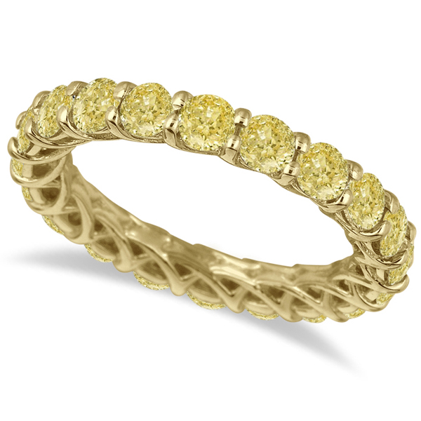 Fancy Yellow Canary Diamond Eternity Ring Band 14k Yellow Gold (3.50ct)