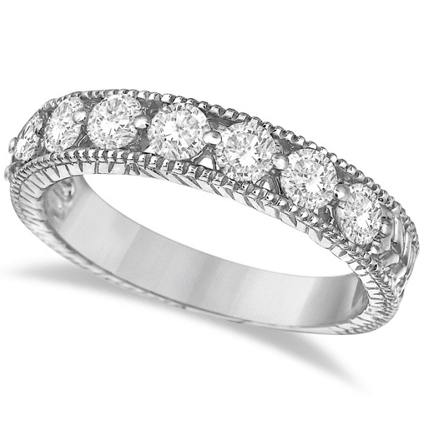 Antique Scrollwork Diamond Wedding Ring Band 14k White Gold (1.04ct)