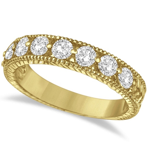 Antique Scrollwork Diamond Wedding Ring Band 14k Yellow Gold (1.04ct)