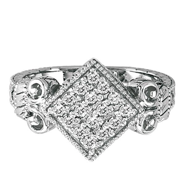 Diamond Square Ring in 14K White Gold (0.45 ctw)