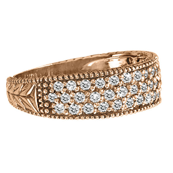 Three-Row Filigree Diamond Statement Ring Band 14k Rose Gold (0.65ct)