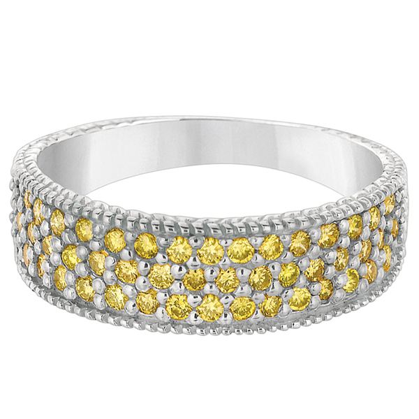 Three-Row Fancy Yellow Canary Diamond Ring Band 14k White Gold (0.65ct)