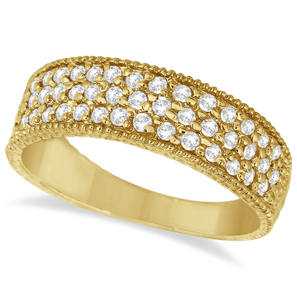 Three-Row Filigree Diamond Statement Ring 14k Yellow Gold (0.65ct)