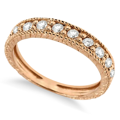 Vintage Style Diamond Wedding Ring Band Half-Way 14k Rose Gold 0.55ctw