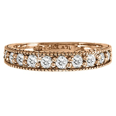 Vintage Style Diamond Wedding Ring Band Half-Way 14k Rose Gold 0.55ctw