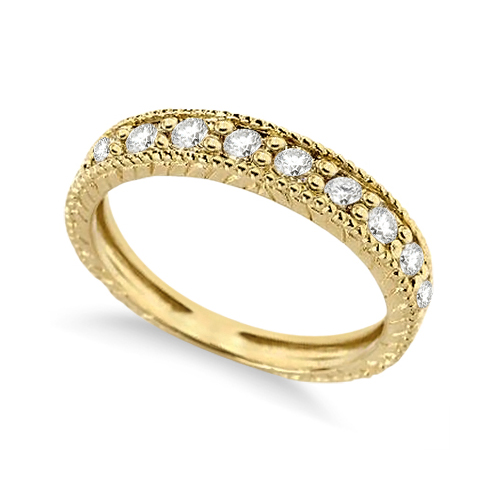 Vintage Style Diamond Wedding Ring Band Half-Way 14k Yellow Gold 0.55ct