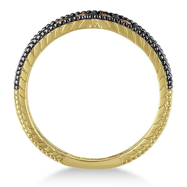 Champagne Diamond Black Rhodium Ring Band 14k Yellow Gold (0.55ct)