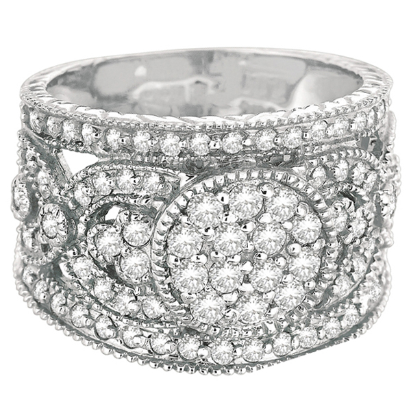 Vintage Style Wide Band Right-Hand Diamond Ring 14k White Gold (1.25ct)