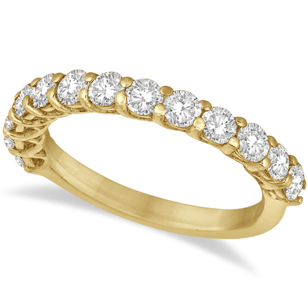 Half Eternity Round Cut Diamond Ring Band 14k Yellow Gold (1.35ct)