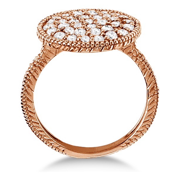 Diamond Large Circle Cocktail Right-Hand Ring 14k Rose Gold (1.51ct)