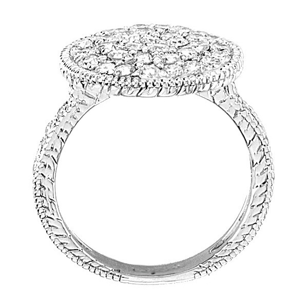 Diamond Large Circle Cocktail Right-Hand Ring 14k White Gold (1.51ct)
