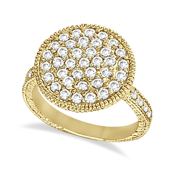Diamond Large Circle Cocktail Right-Hand Ring 14k Yellow Gold (1.51ct)