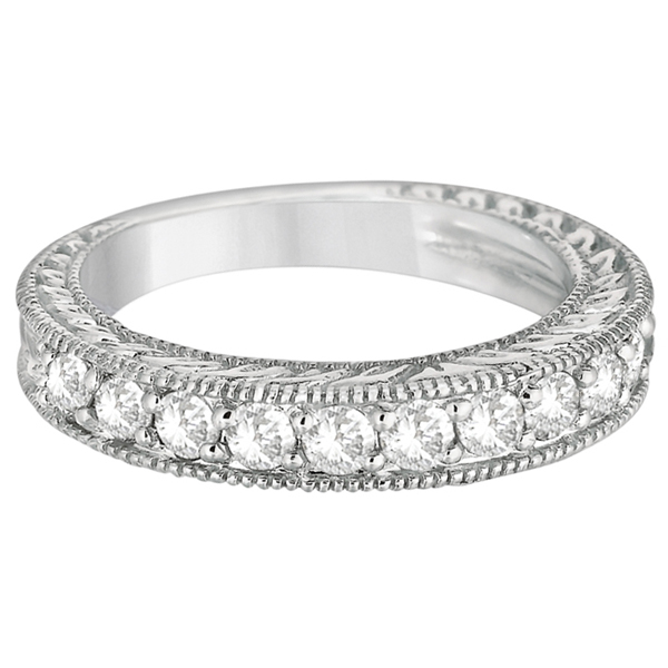 Milgrained Edge Filigree Diamond Ring Band 14k White Gold (0.80ct)