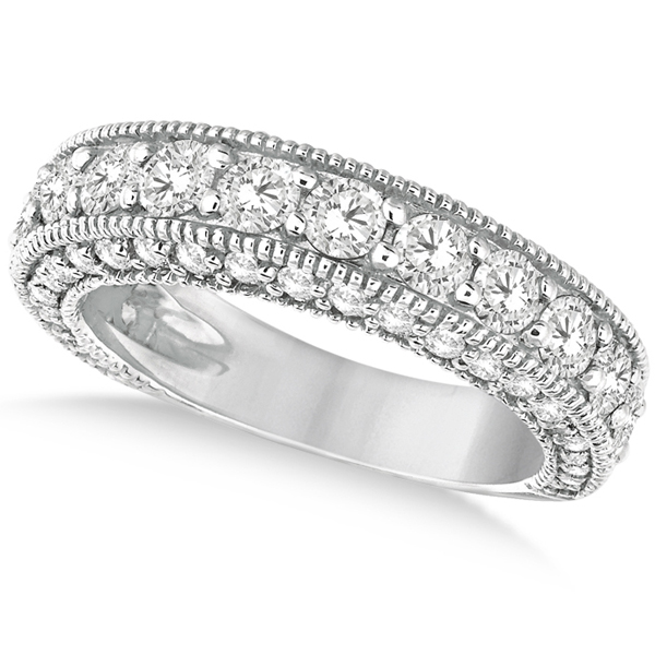 Rim-Accented Milgrain Edged Diamond Ring 14k White Gold (2.10ct)