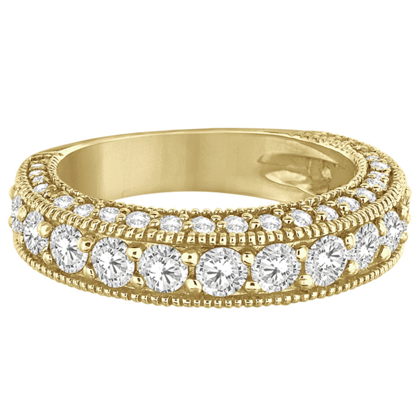 Rim-Accented Milgrain Edged Diamond Ring 14k Yellow Gold (2.10ct)