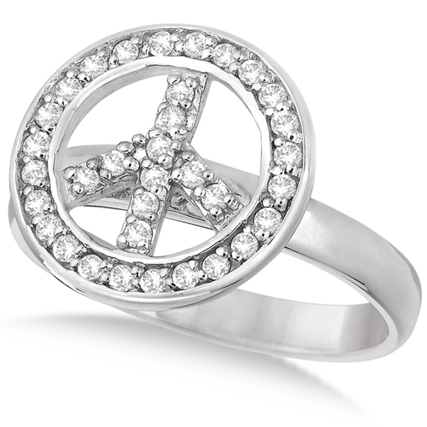 Diamond Peace Sign Shaped Right-Hand Ring 14k White Gold (0.35ct)