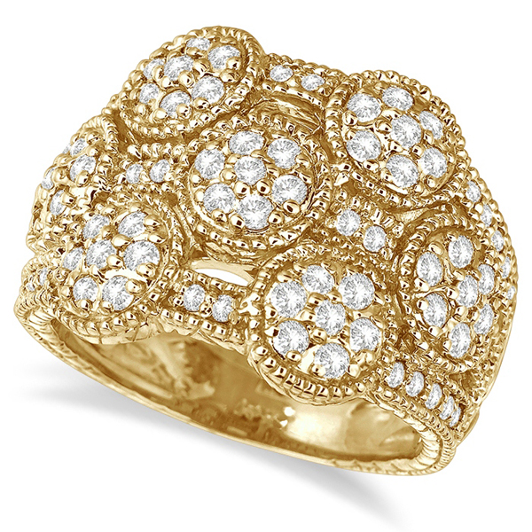Bubble Design Diamond Right-Hand Ring Band 14k Yellow Gold (1.30ct)